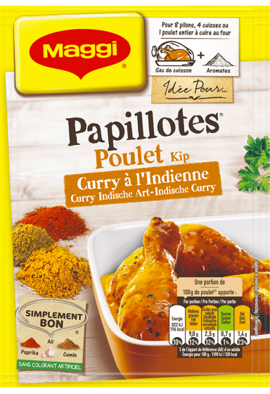 Papillotes Huhn Indische Art