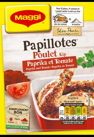 Papillotes Huhn Paprika und Tomate